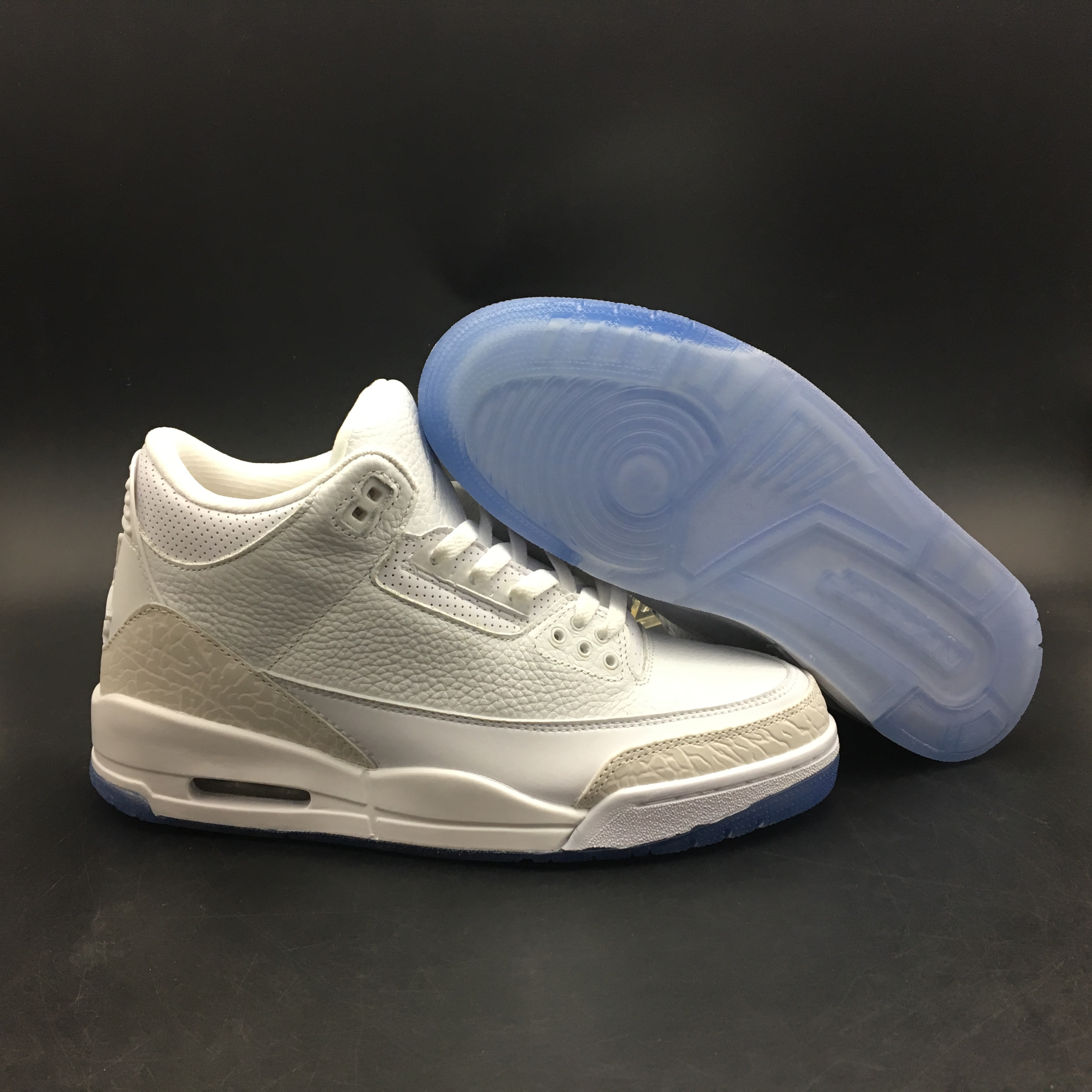 New Air Jordan 3 Pure White Ice Sole Shoes